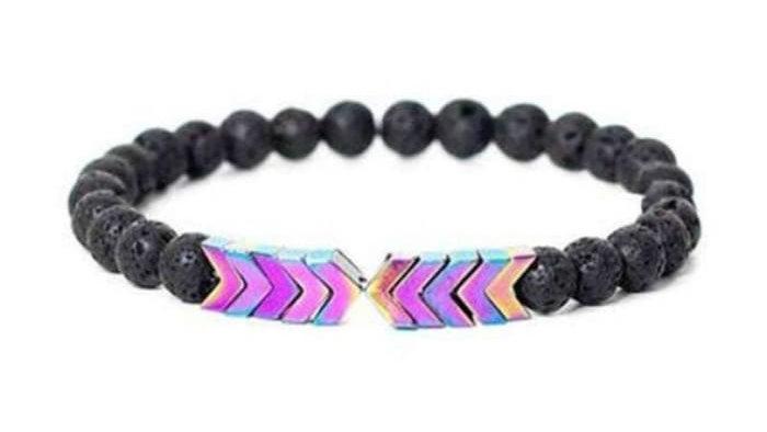Rainbow Chroma Moonstone Arrows and Lava Stones Bracelet