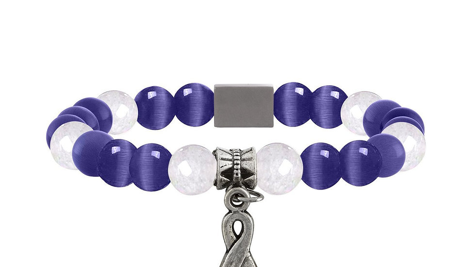 American Cancer Society Beaded Bracelet - Purple