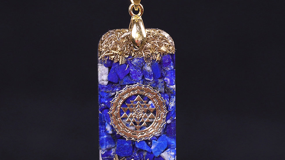 Orgonite Energy Pendant Natural Lapis Lazuli Reiki Energy Necklace
