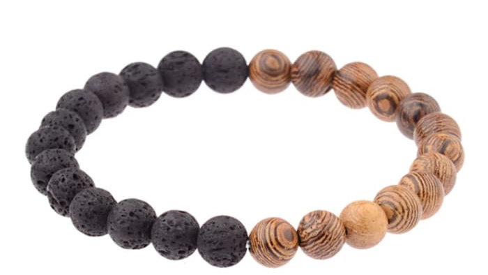 Lava Stone Essential Oil Bracelet - Wood Beads