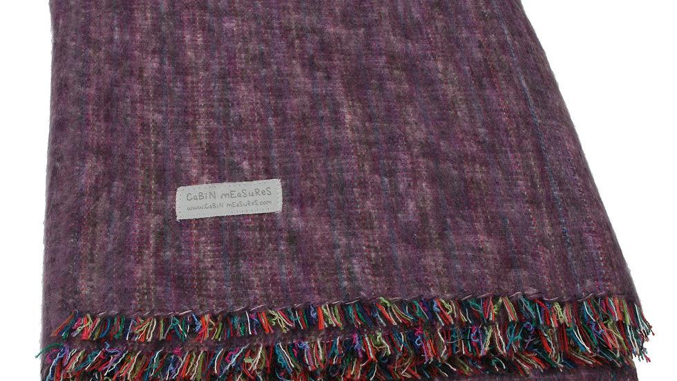 100% Alpaca Full Blanket in Heather Purple