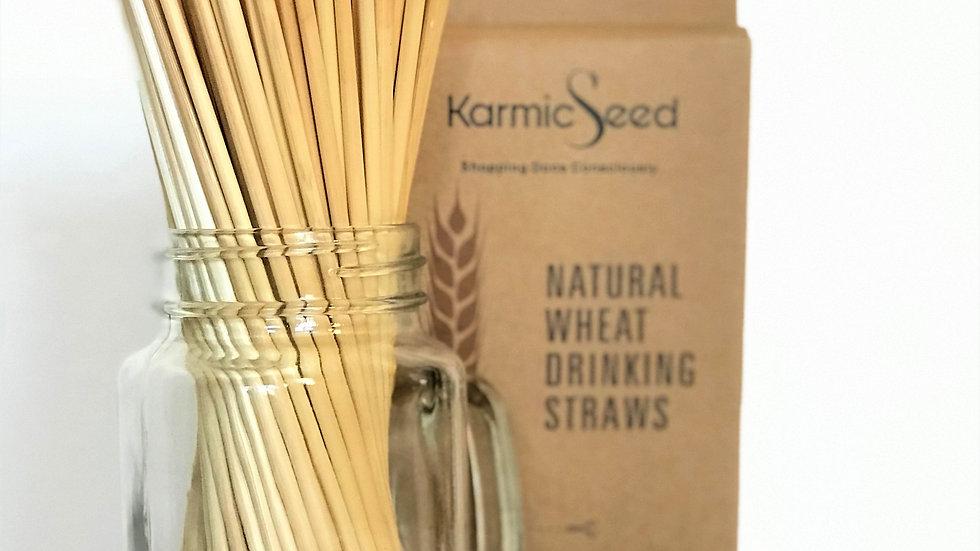 Eco-Friendly Natural Wheat Hay Drinking Straws (100 Straws)