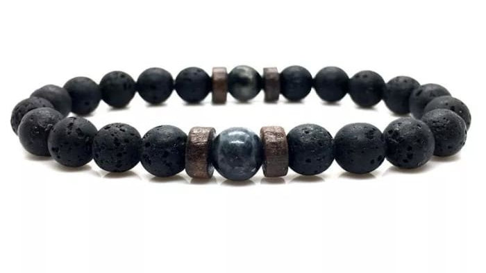 Wood and Lava Stone Essential Oil Bracelet - Gray 2