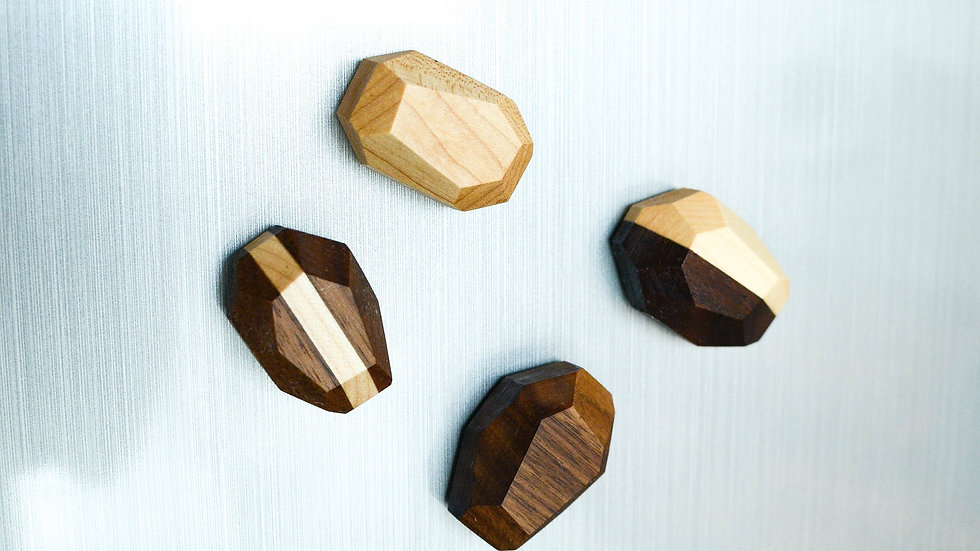 Geometric Wooden Magnets (Set of 4)
