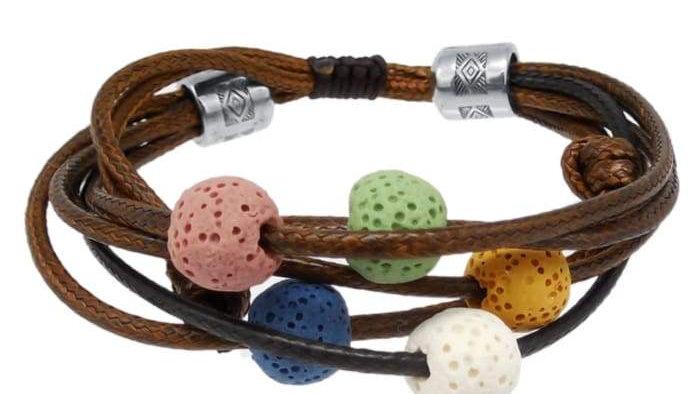 Brown Lava Stone Charm Bracelet Adjustable