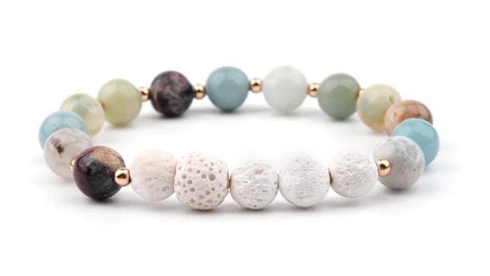 Lava Stone Essential Oil Bracelet - Amazonite and White 5
