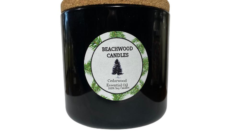 Cedarwood Essential Oil Soy Wax Candles - 16oz Recycled Glass Jar