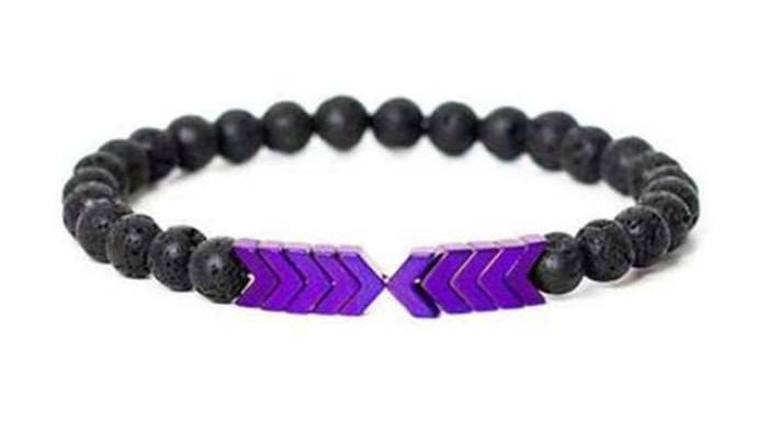 Purple Chromatic Moonstone Arrows and Lava Stones Bracelet