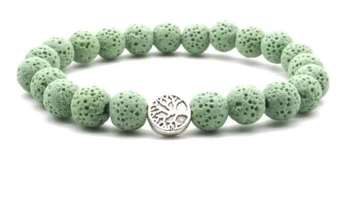 Light Green Lava Stone Tree of Life Essential Oil Bracelet