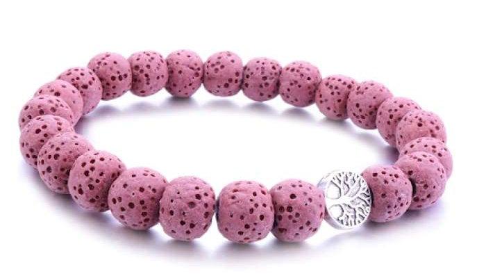 Pink Tree of Life Lava Stone Essential Oil Bracelet