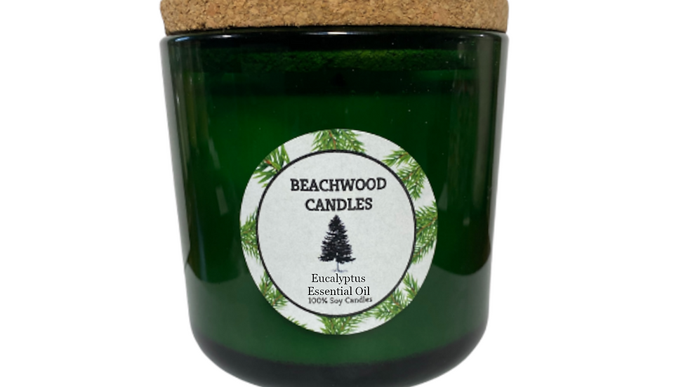 Eucalyptus Essential Oil Soy Wax Candles - 16oz Recycled Glass Jar