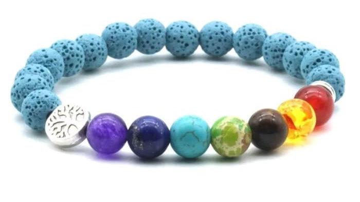 Lava Stone Chakra Blue Bracelet