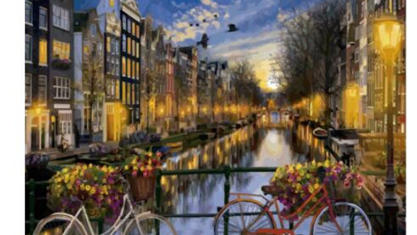 Amsterdam Canal and Two Bikes DIY Oil Paint by Number  on Canvas