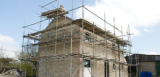 house with scaffolding
