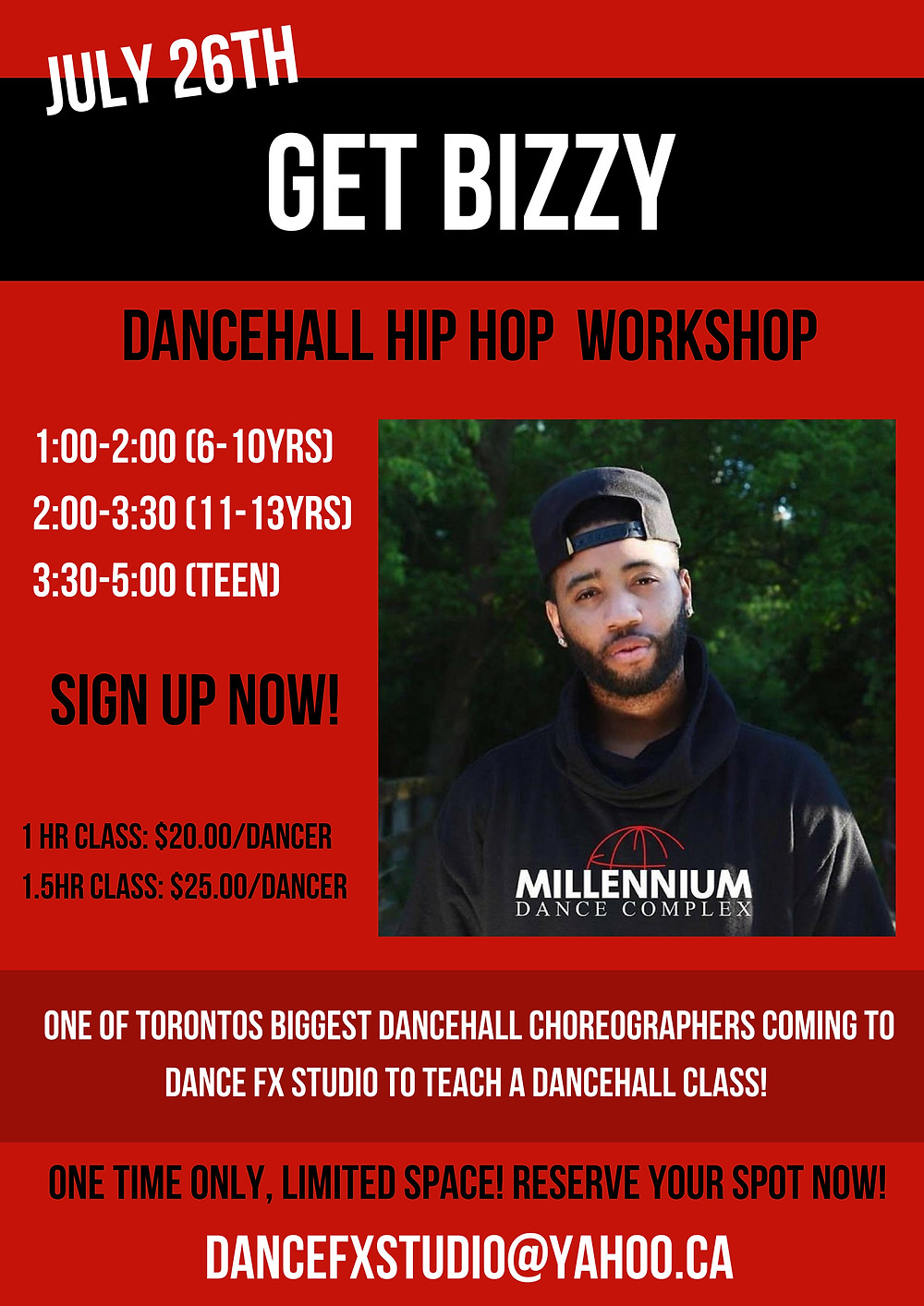 CALLING ALL HHOP and Dancehall lovers......Don't miss a chance to dance with the famous BIZZY at DFX!!!  Contact to register.  Spread the word, bring a friend....!