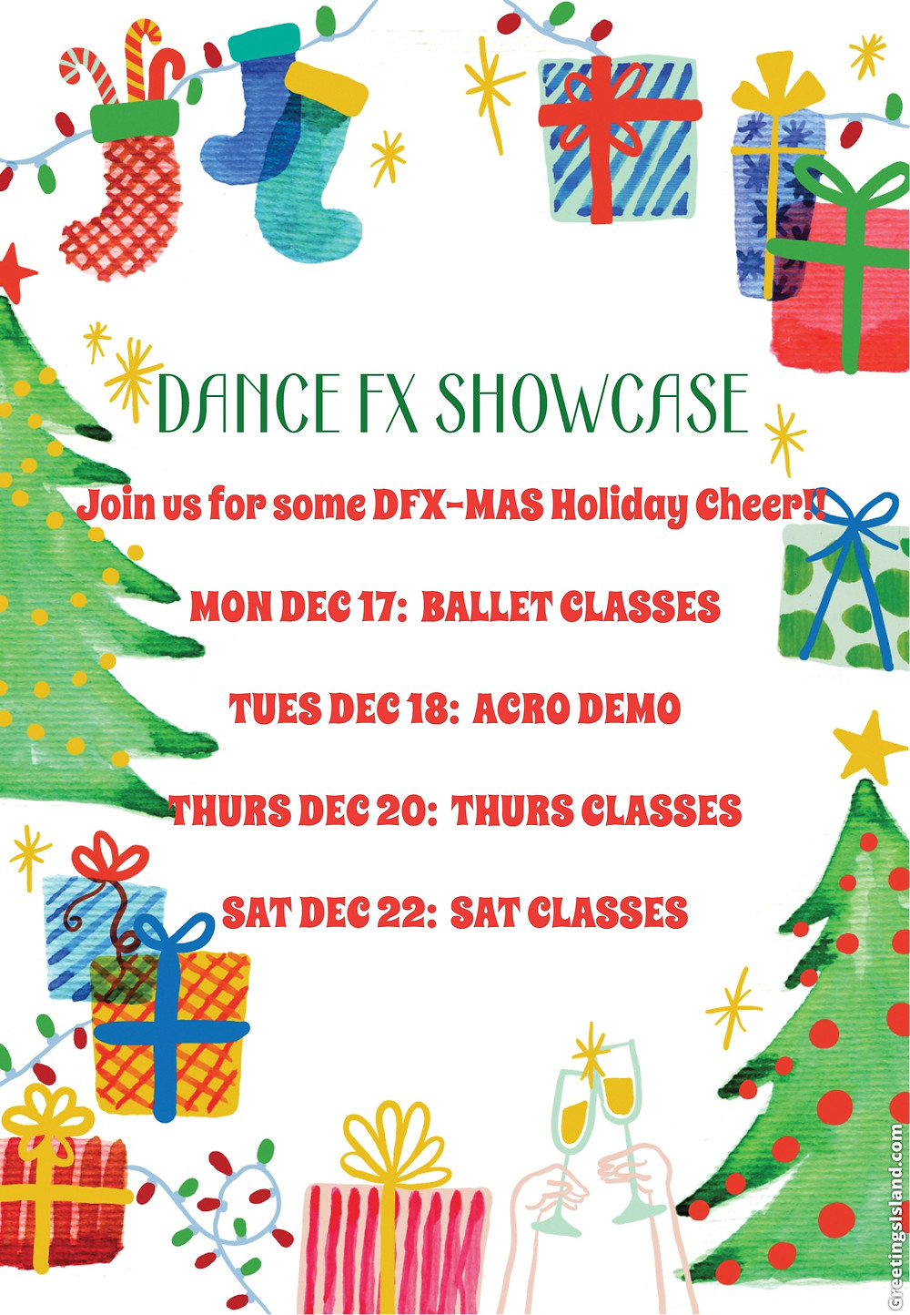 Join us as our DFX stars jingle bell rock and spread holiday cheer for our FX families.  Specific times to follow....