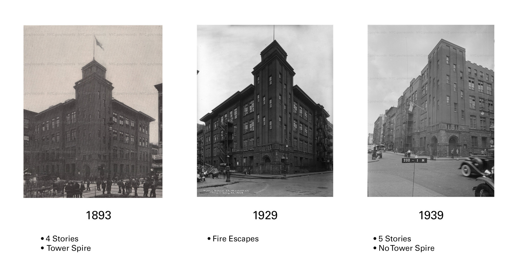 Since the building was originally constructed in 1893, it has gone through several changes.  For example, the original tower and cornice were removed, and fire escapes were added to the sides of the building as per laws written in 1913.