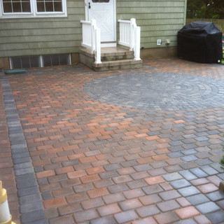 Red and gray patio with design