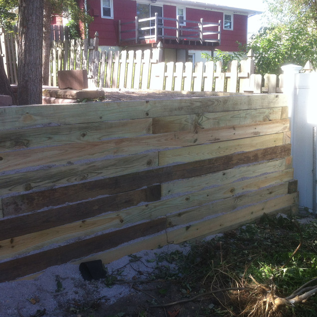 Wood retaining wall decorative
