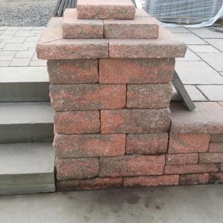 Cement steps and brick pillar