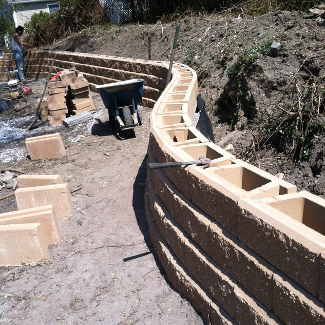 Curved stone retaining wall