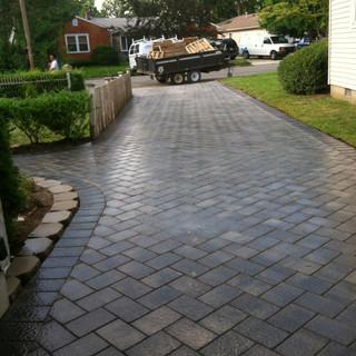 Gray walkway diagonal pattern