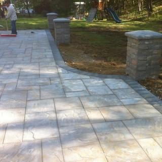 Large gray paver patio