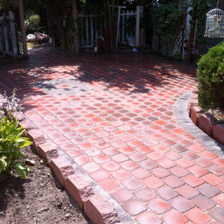 Red stone walkway with border