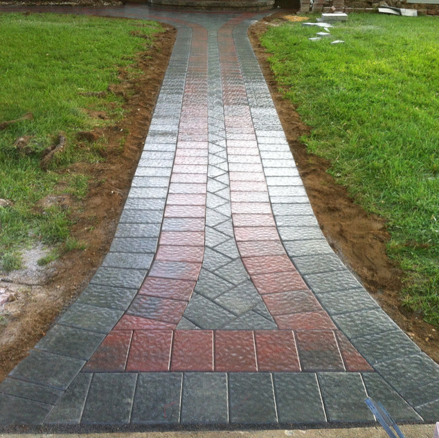Red and Gray Stone Walkway