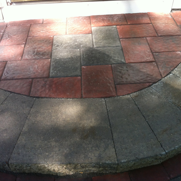 Decorative brick and stone steps