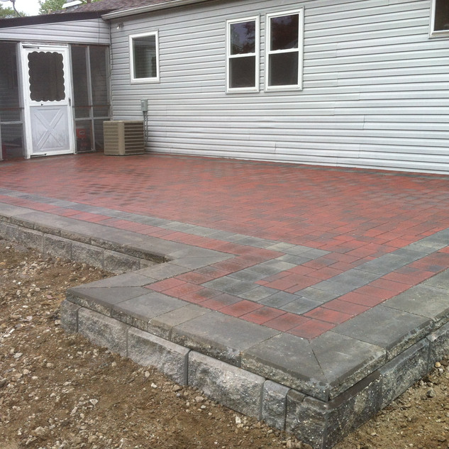 Red and gray stone Patio