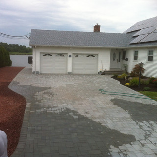 Gray stone driveway 2 car