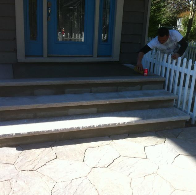 Brick and stone steps