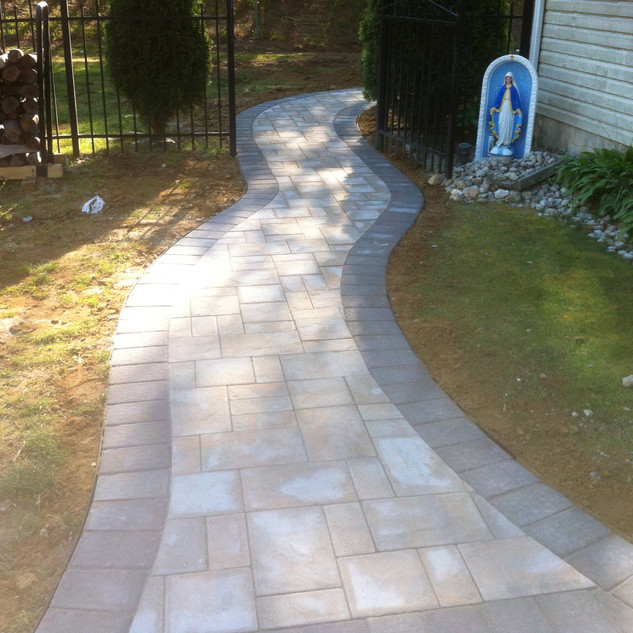 Gray designed curved walkway
