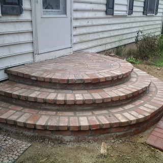Rounded steps from back door
