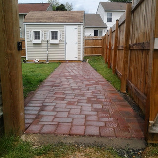 Red brick and stone walkway