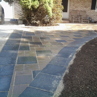 Limestone and large paver walkway