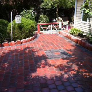 Red stone walkway and patio