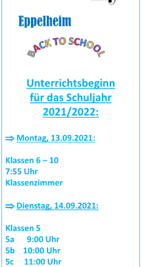 Einschulung Klasse 5 am Dienstag nach den Ferien (14.09.2021)