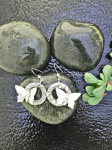 TAKE OFF WITH HAND CAST STERLING BUTTERFLY EARRINGS