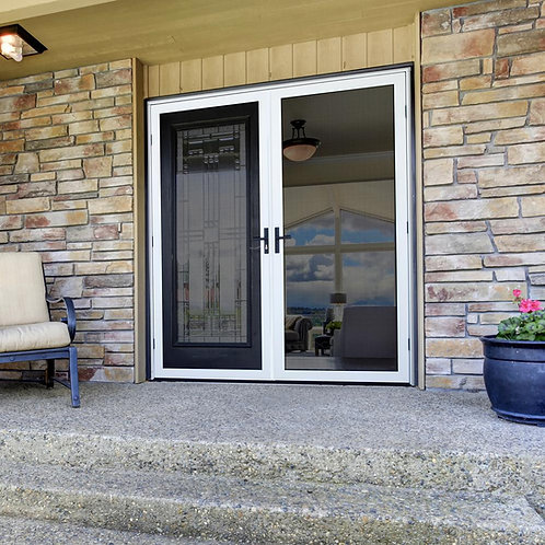 PolarBear Tech White Patio Door with Security Screen