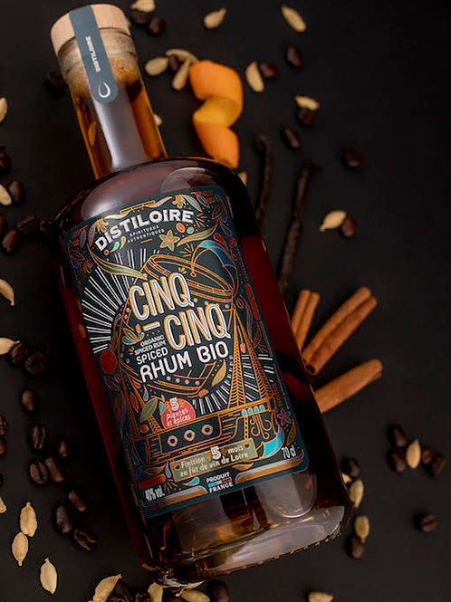 Rhum Bio Spiced 5.5 avec étui - Distiloire