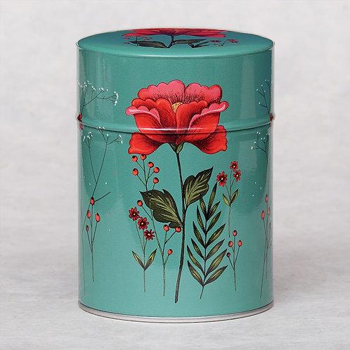 Boite à Thé illustrée luxe fleur rouge