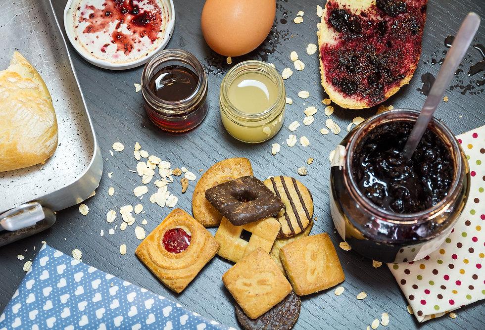 confitures, biscuits, chocolats