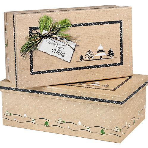 """Coffret carton rectangle kraft """"Joyeuses fêtes"""" Dimensions en cm"""