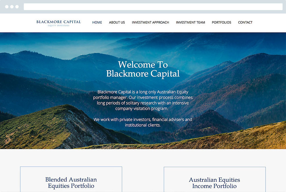 Blackmore capital financial website made by capital design