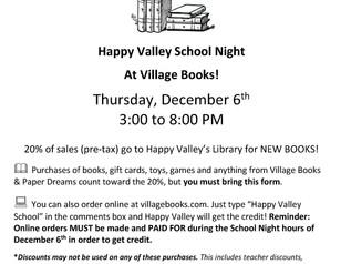 HV School Night at Village Books: Dec 6!