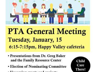 PTA Jan 15th General Meeting