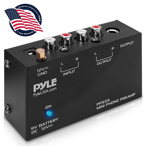 Pyle PP555 超高性能フォノイコライザー(DURACELL PC1604 9V電池付き)