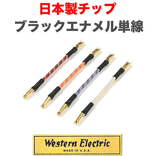WE 24GA、単線リード線(ブラックエナメル、絹巻き)/4本セット